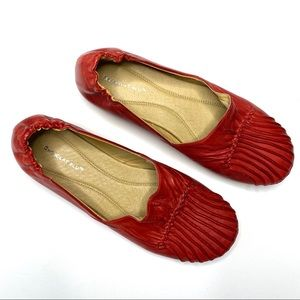 Anthro Chocolat Blu Leather Pleated Flats Red 9